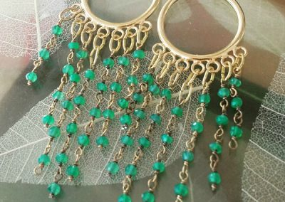 Gemstone and gold plated hoop earrings