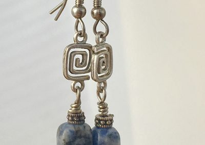 blue denim lapiz beads dangle earrings
