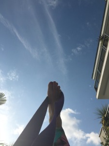 looking up in the sky yoga staycation pic
